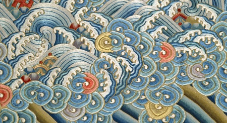 detail from NGV exhibition media; Uncut semi-formal court robe (Jifu) (detail) (mid 19th century) China silk, silk and metallic thread 153.0 x 141.8 cm National Gallery of Victoria, Melbourne Gift of John H. Connell, 1914