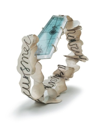 Nicole Polentas; Untitled (bracelet); 2006; Sterling silver, plastic, copper and image; Photography by Jeremy Dillon