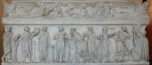 Roman sarcophagus (2nd century AD, from the Louvre); click on image for original source