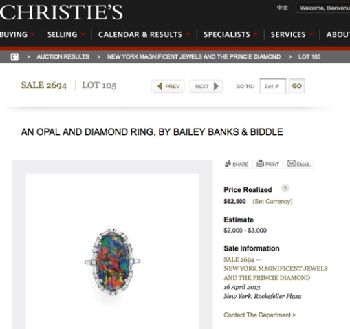 screen shot of Christie's website; click on image for original source