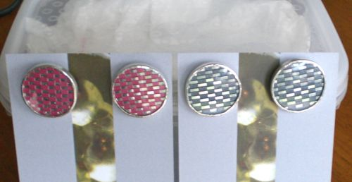 hot pink and anthracite woven cufflinks; image not to be reproduced without permission